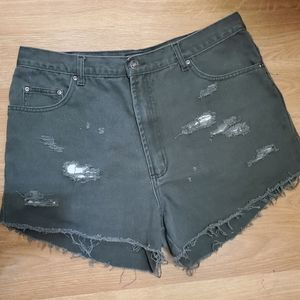 Route 66 Distressed High Waisted Jeans Shorts